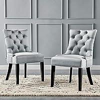 Modway Regent 簇绒性能天鹅绒餐椅 - 2 件套,浅灰色