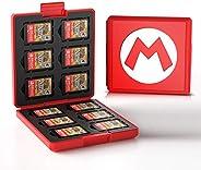 開關用硬殼盒,便攜式&薄型游戲卡盒,保護性防震墨盒支架便攜收納盒盒帶12個墨盒插槽用于NS N