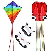 QUACOWW 2 件装风筝,彩色大钻石风筝和红色软件章鱼风筝,所有都有长长的彩色尾巴,适合儿童户外游戏和活动