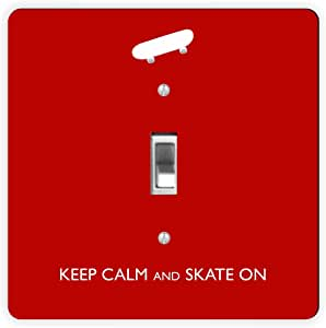 Rikki Knight Keep Calm and Skate on Skateboard Single Toggle Light Switch Plate, Red