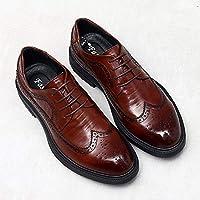 Wilindun 布洛克雕花男鞋真皮英伦商务正装小皮鞋圆头休闲复古巴洛克结婚鞋