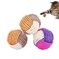 SUNTRADE 3 件套猫玩具剑麻球宠物抓挠球咀嚼环保玩具宠物互动玩具耐咬耐磨(颜色随机)