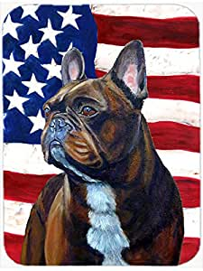 Caroline's Treasures LH9010LCB USA American Flag with French Bulldog Glass Cutting Board, Large, Multicolor