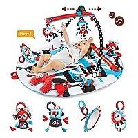 Yookidoo 幼奇多 黑白机器人游戏毯 带电动轨道小车 多功能爬行垫 健身架 大尺寸 早教 活动玩具 0岁+ 40128