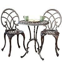 百伽 美亚同款户外桌椅花园家具庭院套装铸铝铁艺桌椅组合一桌两椅50550 古铜色【亚马逊自营,供应商配送】