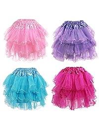 kilofly 4 件套女孩芭蕾舞短裙百褶公主派对蓬松薄纱裙裙