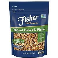 FISHER Chef's Naturals 切半核桃和核桃片, 无防腐剂,6盎司(170克)