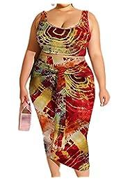 加大码裙子套装 - 性感两件套扎染背心露脐上衣 + 铅笔裙