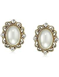 1928 珠宝金色仿珍珠和水晶椭圆形纽扣耳环