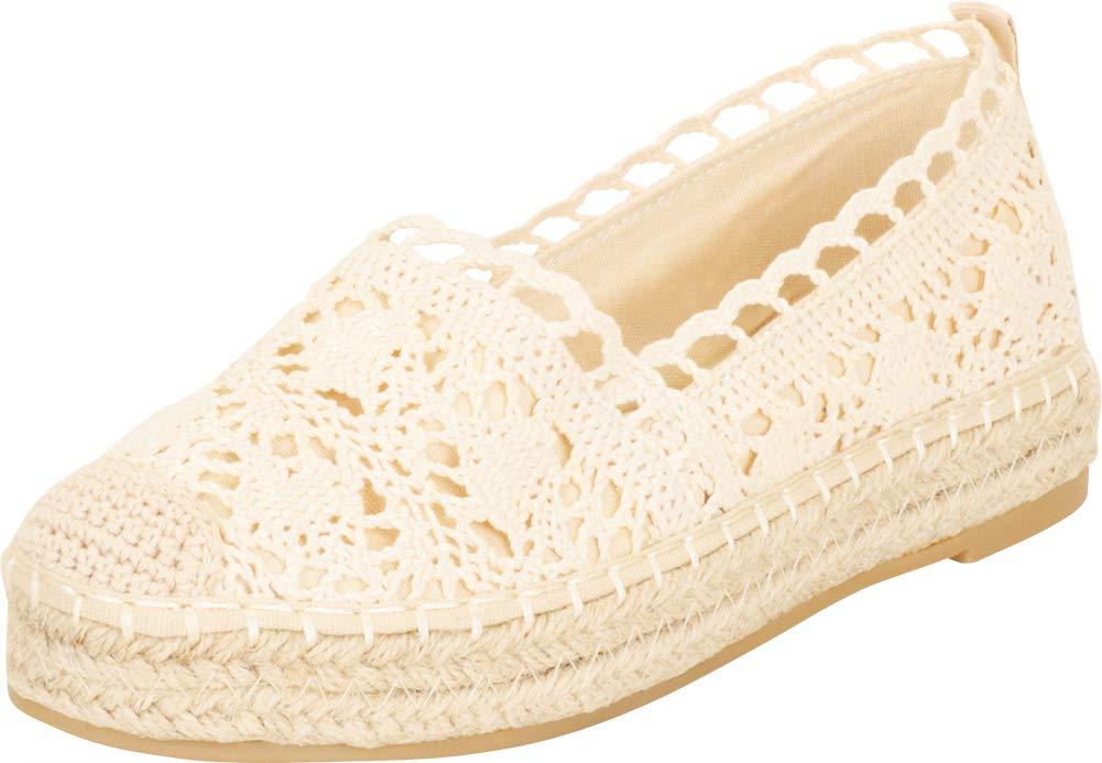 Cambridge Select 女式包趾钩针编织蕾丝一脚蹬粗帆布平底鞋