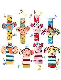 ThinkMax 婴儿手腕摇铃,8 只动物软袜玩具手腕摇铃和脚踏查询套装 - 大象、猴子、小猪和小狗... 8PCS 8 件