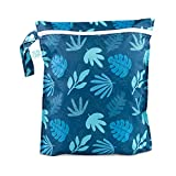 Bumkins 防水湿袋,可水洗,可重复使用,适合旅行、海滩、游泳池、婴儿车、尿布、脏健身服、湿式泳衣 Blue Tropic