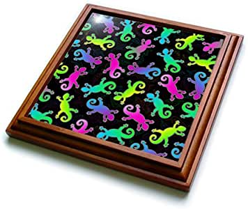 Janna Salak Designs Prints and Patterns - Neon Lizard and Leaf Pattern - Trivets 棕色 8 到 8 英寸