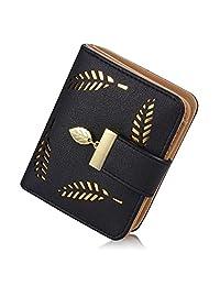 女式钱包空心叶图案双折皮革女士钱包零钱扣手包
