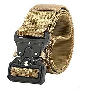 NiceShop16 4.8cm 宽 战术腰带 军事风格尼龙织带皮带 带金属扣 卡其色 均码
