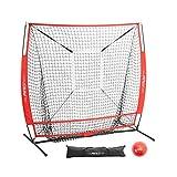 Pinty 棒球和垒球练习网 5 英尺 × 5 英尺/7 英尺 × 7 英尺便携式击球训练网 带目标区束 + 加重训练球和手提袋