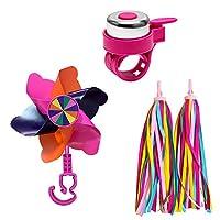HHMM 儿童自行车铃 适用于女孩自行车、幼儿自行车、滑板车,带 2 个车把飘带和 1 个自行车风车