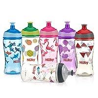 Nuby 印花儿童吸管水瓶,颜色随机,1 只装,12 盎司,多种颜色