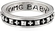 King Baby Men's Stackable Studded Ring with MB Cro