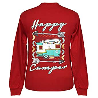Girlie Girl Originals Happy Camper 长袖红色 T 恤,S 码