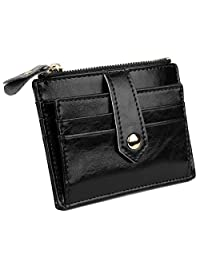 YALUXE 女士紧凑皮革卡包钱包带拉链口袋 ID 窗
