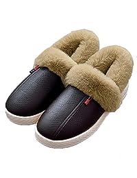 ASIFN 皮质防水棉拖鞋女冬季包跟2018新款居家用室内情侣厚底棉拖鞋男