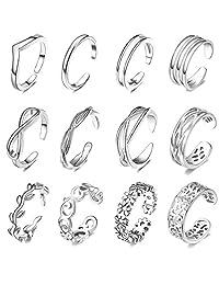 FUNEIA 12 件可调节脚趾戒指,女式花结尾带露趾戒指套装夏威夷*珠宝  A:Silver