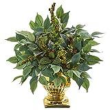 Nearly Natural 8834 15英寸 Royal Ficus and Fittonia 人造金丝丝植物,*