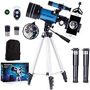 儿童及天文学初学者SOLDIER 望远镜 - 70 毫米光圈折射望远镜,用于观星,可调节三脚架手机适配器无线遥控完美旅行望远镜礼品,蓝色