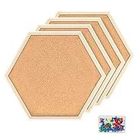 六角形软木公告板墙砖,现代框架软木板适用于学校、家庭、办公室(套装包括 40 个推针) 棕色