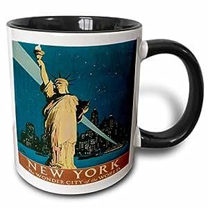 3drose BLN 场景 OF NEW YORK CITY 系列–NEW YORK THE WONDER 城市 OF THE WORLD 与自由女神像海报–马克杯 黑色/白色 11 oz