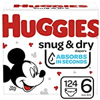 Huggies Snug & Dry 婴儿尿布 NEW One Month Supply Pack Size 6 (124 Count)