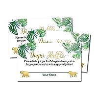 25 个 Safari *纸片彩票卡片适合女孩或男孩宝宝沐浴请柬、用品和游戏,适合中性性别展览派对,赠送一包纸尿裤,丛林动物