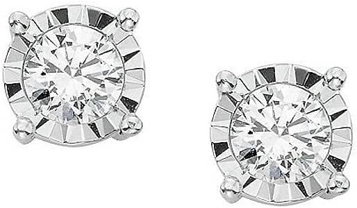黑色星期五销售! IGI 认证 (0.10Ct-0.40 克拉) 单颗 14k 白金钻石耳钉 (M)(ColorJK,ClarityI2)