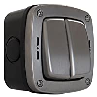 Masterplug WP42 20 A 2-Gang 2-WayStorm 防水户外开关单杆 IP66 认证wpl42 拉丝钢