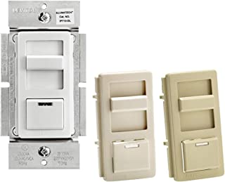 Leviton IP710-DLZ IllumaTech 1200VA Preset Fluorescent Slide Dimmer, Single Pole and 3-Way, White/Ivory/Light Almond 需配变压器