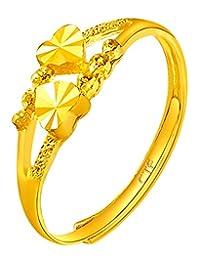 周大福 心心相守 足金黄金戒指(工费:48计价) F156901 约1.95g(亚马逊自营商品, 由供应商配送)