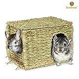 SunGrow 草屋 – 折叠编织小屋用于躺卧或睡觉 – 提供舒适、温暖和* – 宠物*、可食咀嚼家居 – 满足自然的本能 – 适用于小型动物的多功能玩具