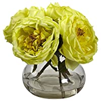 Nearly Natural 1391-YL Fancy Rose with Vase, Yellow