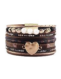 AZORA 皮革袖口手镯多绳缠绕手镯 带珍珠金属心形袖口手链适合女士少女礼物 棕色皮革袖口