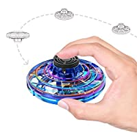 飛行玩具,手動操作UFO無人機,帶LED燈,4種播放模式,USB充電迷你飛行球,男孩、女孩、青少年和成人的禮物玩具