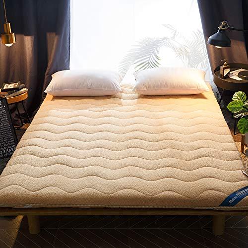宝被 冬季羊羔绒床垫1.8m床2米褥子垫被双人加厚保暖学生法兰绒垫子1.5 羊羔绒保暖床垫:驼色 单人床120x200cm
