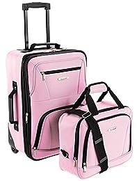 Rockland 洛克兰 拉杆箱套箱 F102 粉色 19寸拉杆箱+14寸手提袋 单向轮 涤纶材质 挂锁