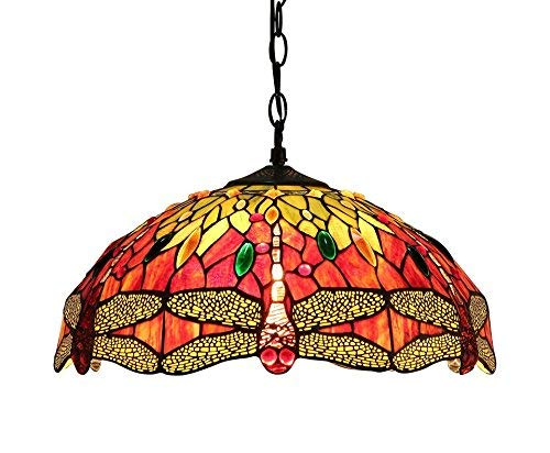 Chloe Lighting CH33471RD18-DH2 EMPRESS Tiffany-Style Dragonfly 2 灯天花板吊坠灯具,45.72 厘米,多色