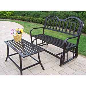 Oakland Living Rochester 2 pc. Iron Outdoor Glider Bench and Coffee Table Set Hammer Tone Brown