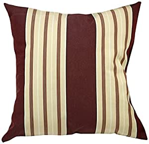Mansion Multi-Striped Outdoor Pillow Burgundy and White Multi 6-Inch