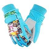 Weanas 儿童滑雪手套冬季保暖手套迷彩印花防水滑雪手套,适合男孩女孩 蓝色 Large(9-12 Years Old)