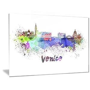 Designart 威尼斯天际线美景金属墙体艺术 - MT6545 紫色 28x12 MT6545-28-12