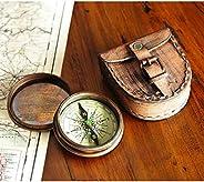 仿古銅 Poem 指南針,帶皮革盒