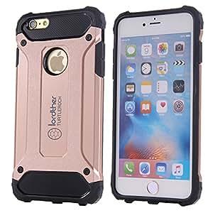iPhone 6s Plus 【减震】手机壳,Lordther 【TurtleRock 系列】【*级】低落测试硅胶 PC 盖【防指纹系列】【钢化玻璃膜】适用于 iPhone 6s Plus/iPhone 6 Plusfor iPhone 6s Plus/iPhone 6 Plus 粉红色